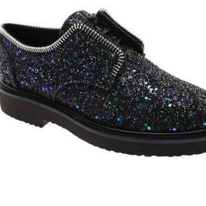 Giuseppe zanotti glitter napa leather shoe